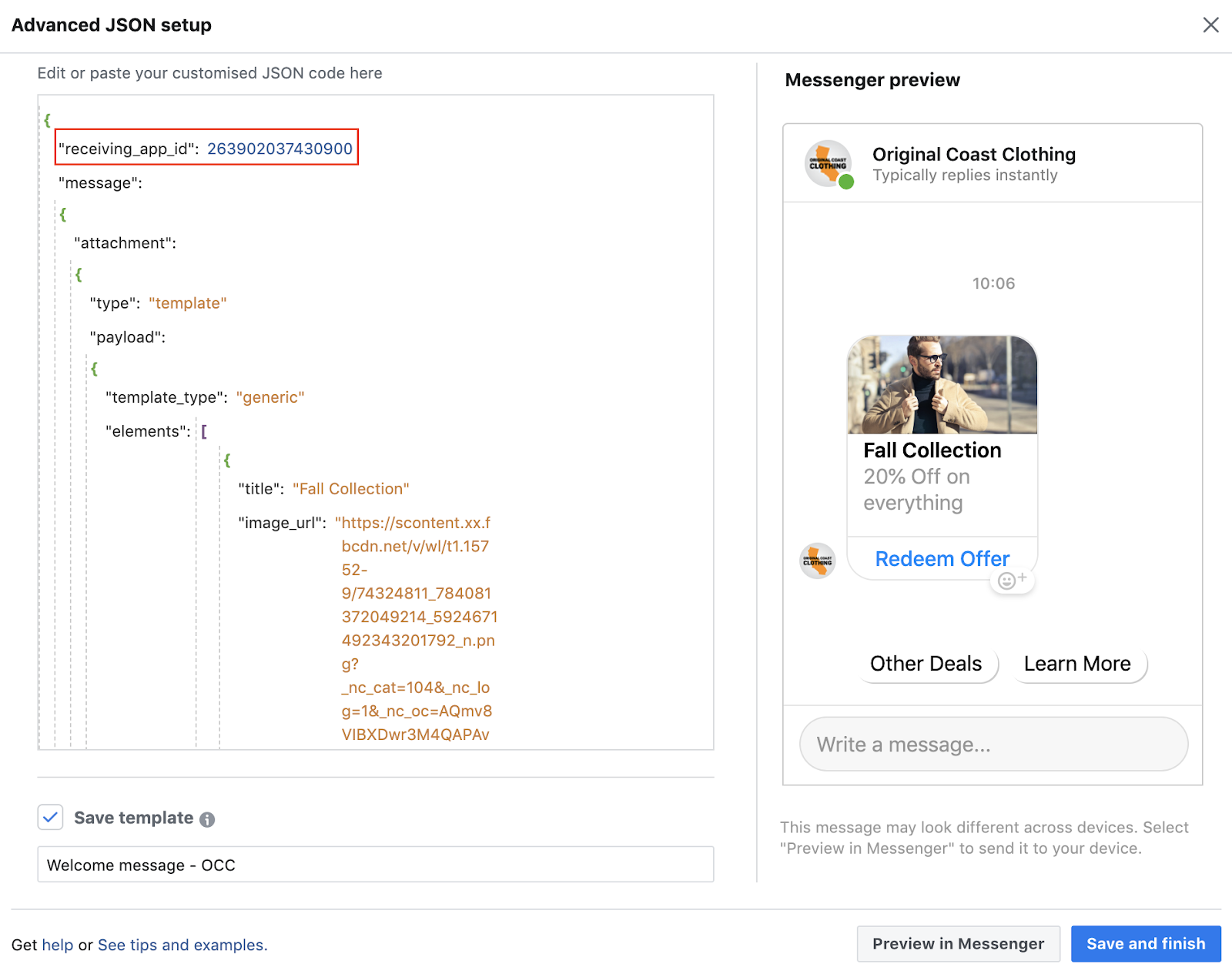 Ad JSON facebook messenger update