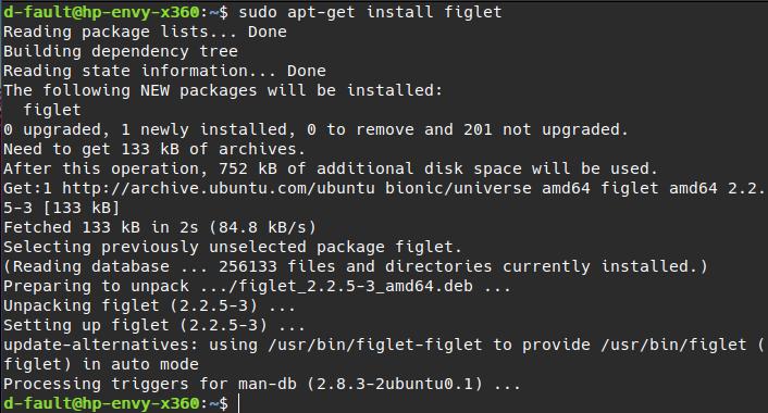 application (figlet) installation using apt-get command