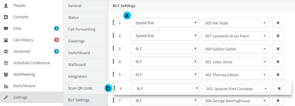 BLF Instellingen in Web Client