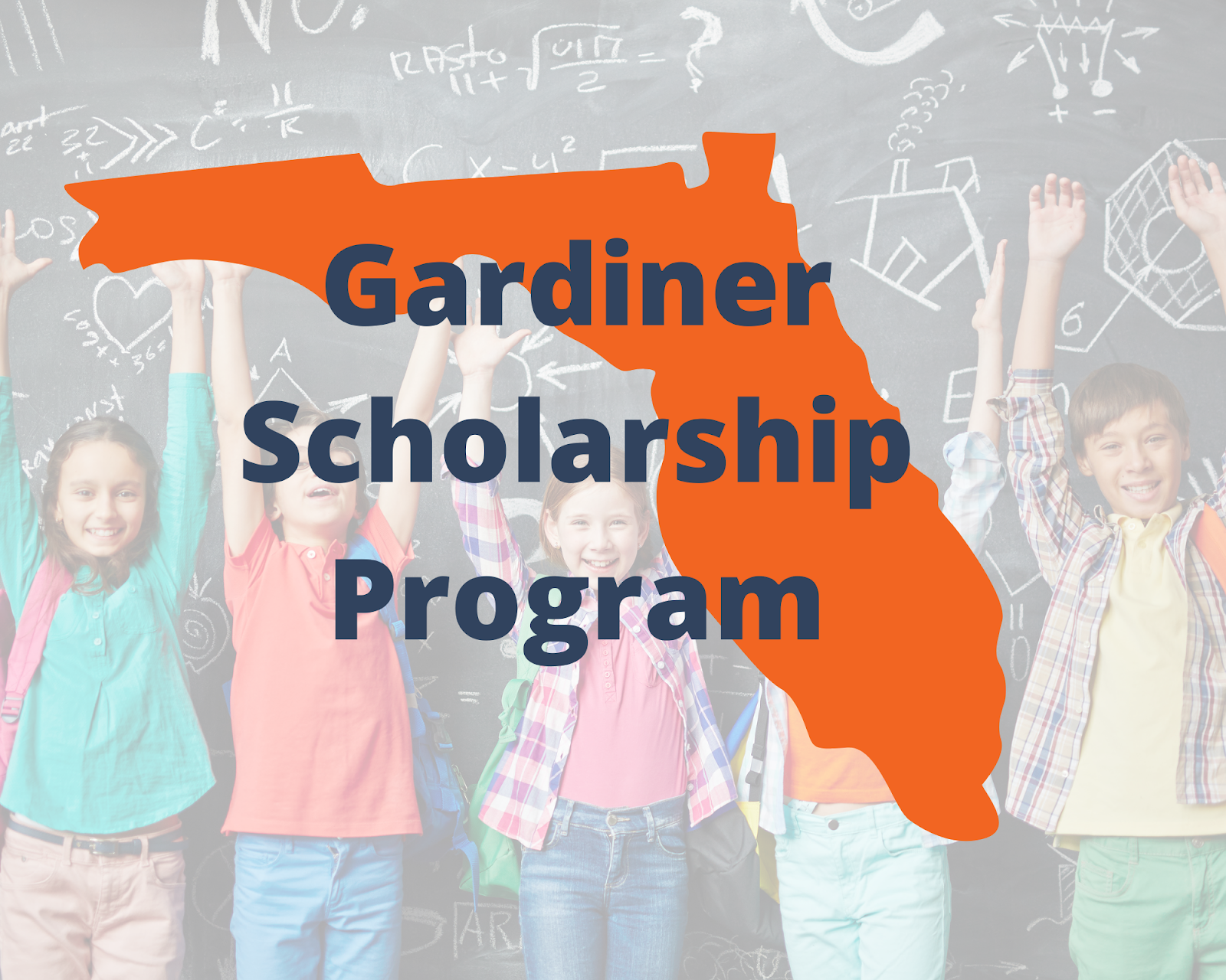 The name of Florida's Education Savings Account (ESA) program is written over a silhouette of the state. Blue words write Gardiner Scholarship Program over an orange silhouette of Florida. Behind the silhouette of the state is children raising their hands and smiling wearing backpacks in front of a school blackboard.