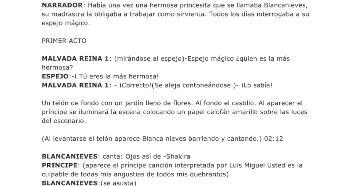 Blancanieves google docs for Un jardin con enanitos letra