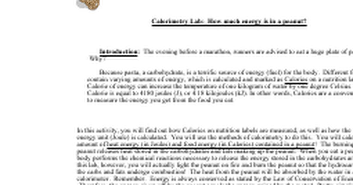 Lab Burning Peanuts Worksheetdocx Google Docs – Calorimetry Worksheet