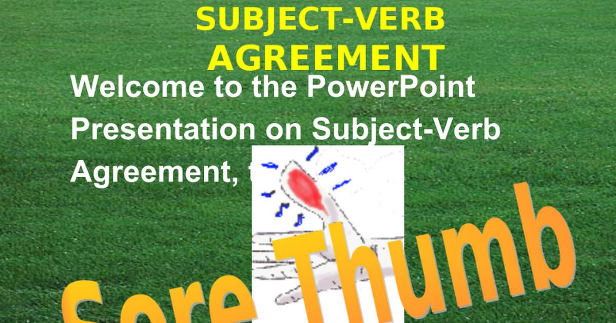 Subject Verb Agreement Google Slides