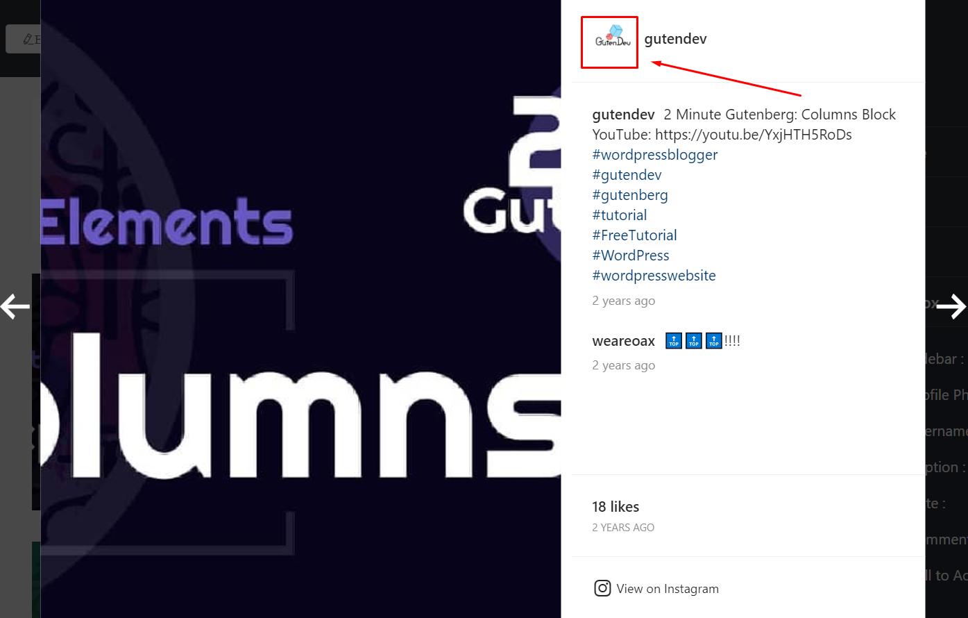 Display profile photo Instagram settings