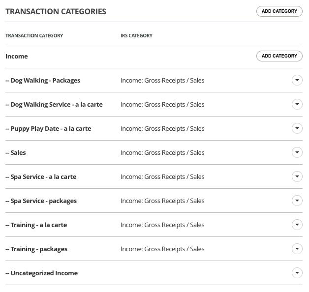 17hats Bookkeeping Categories