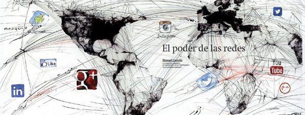 An image of a world map with lines representing networked connectivity, with corporate icons such as Google, LinkedIn, Instagram, Twitter, Facebook, and YouTube floating over the map.