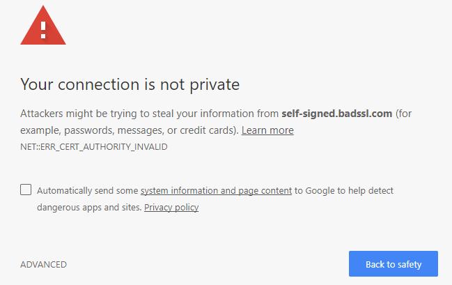 Cảnh báo trình duyệt web chứng chỉ SSL tự ký