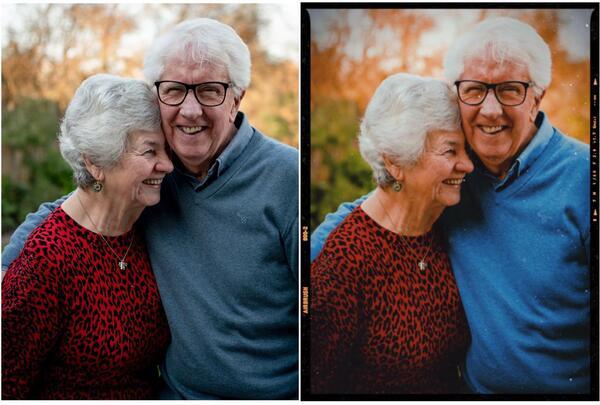 Antes e depois da foto dos avós sorrindo editada pelo AirBrush
