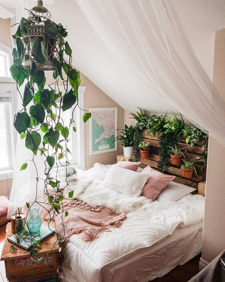 Natural Inspired Bedroom with Common Plants