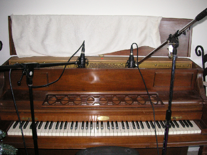 Typical miking in the top of an upright piano