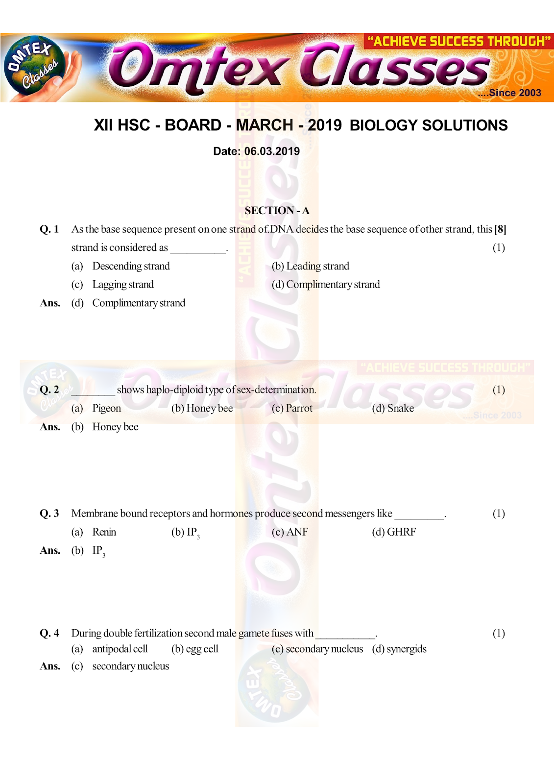 OMTEX CLASSES MAHARASHTRA : XII HSC - BOARD - MARCH - 2019 BIOLOGY