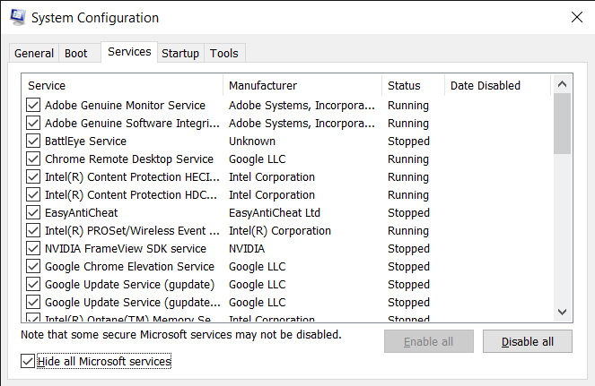 Check the Hide all Microsoft services