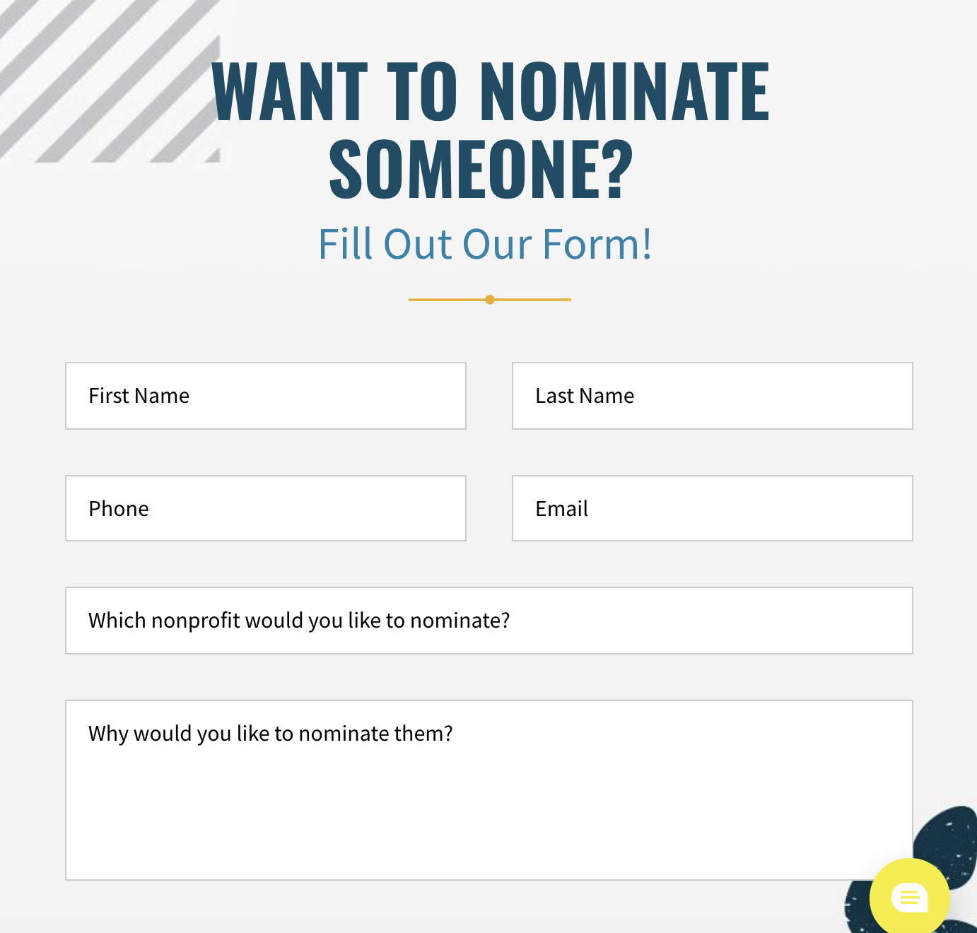 screenshot of the High 5 Cares form for nominating a favorite Denver-area nonprofit
