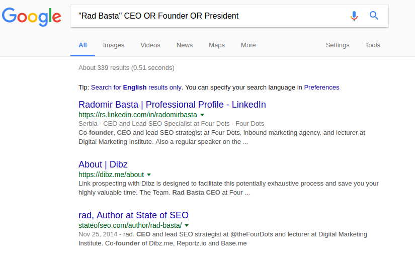 HOẶC toán tử tìm kiếm của Google