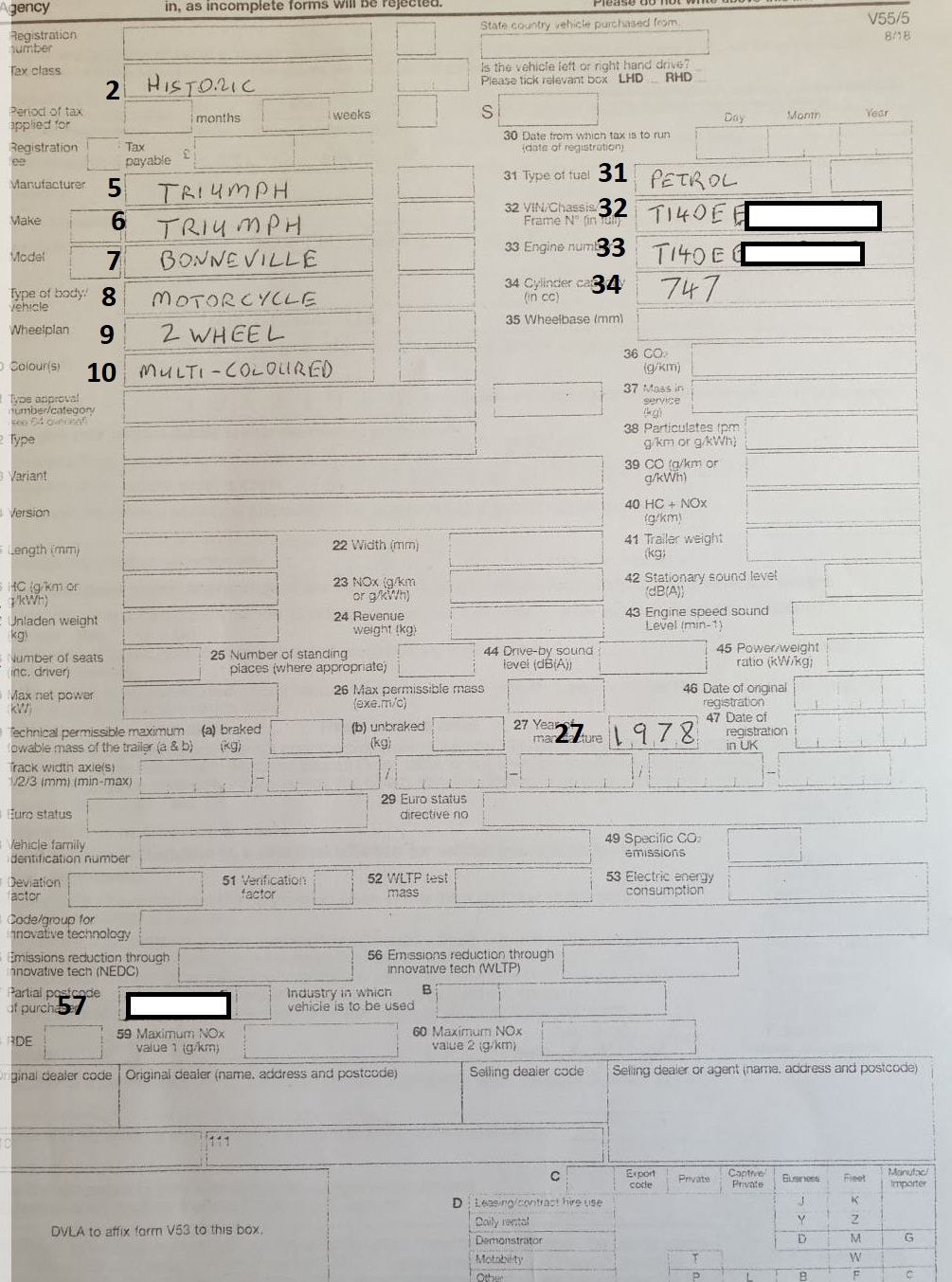 The V55/5 Form page 1 from the DVLA. An example of how to fill it in.