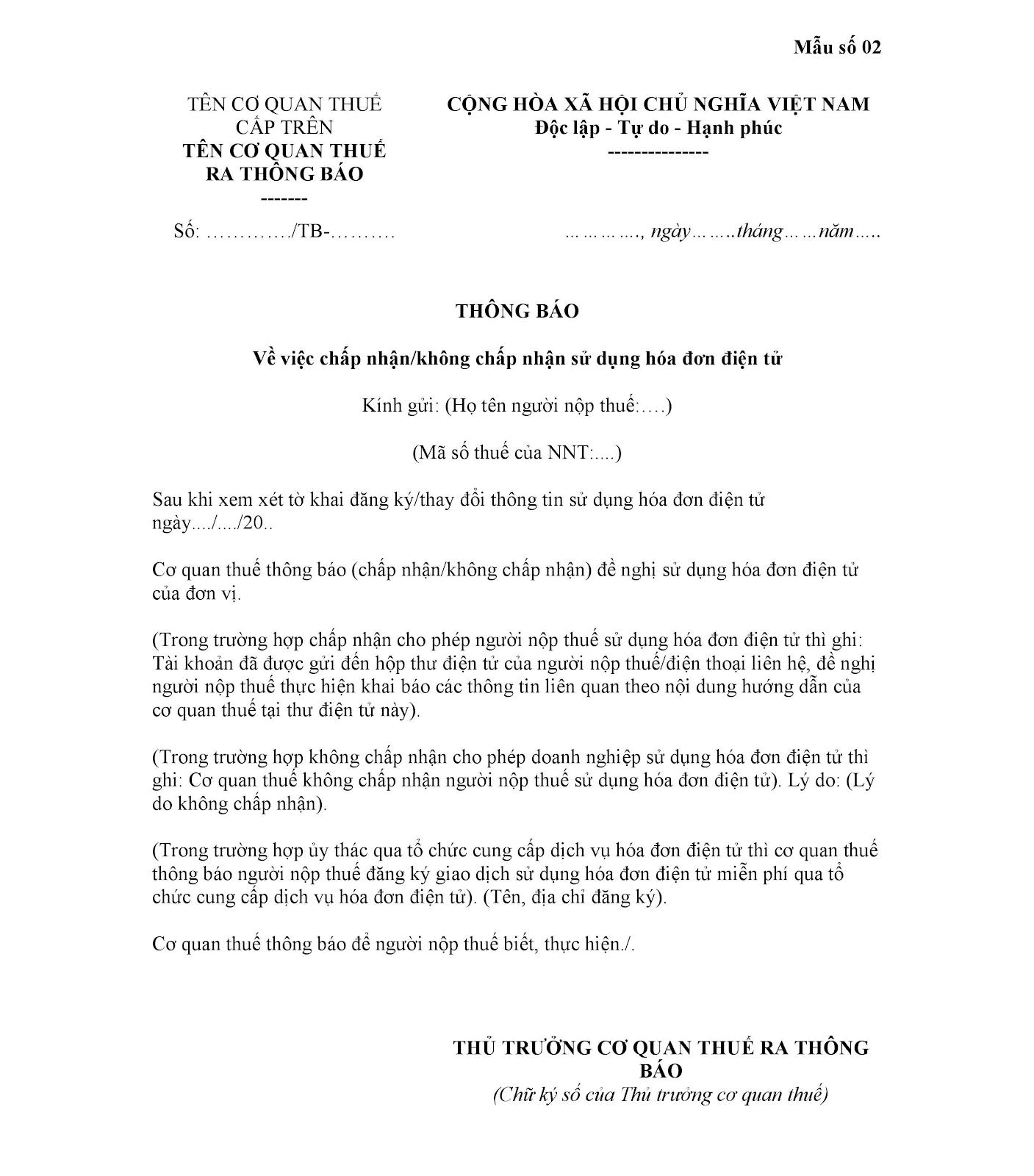 Mẫu số 02 Phụ lục ban hành kèm theo Nghị định 119/NĐ-CP