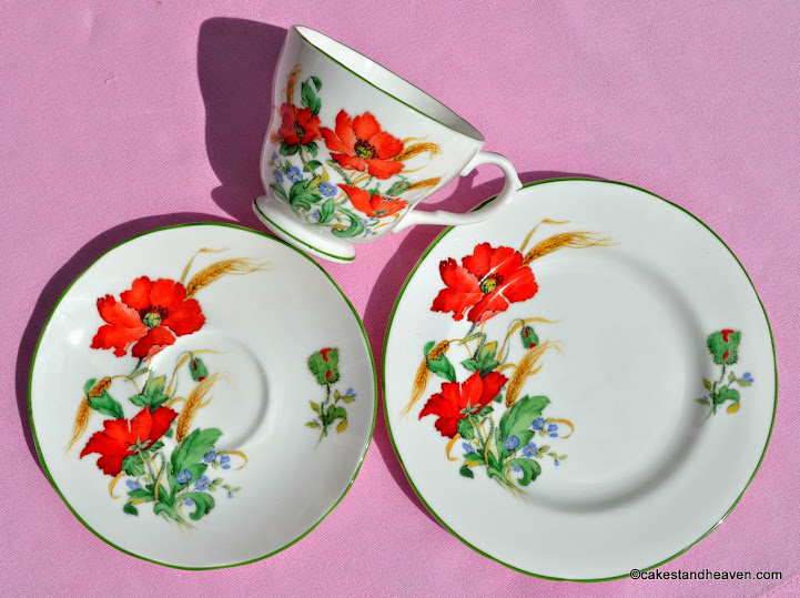 Duchess Poppies vintage teacup, saucer, tea plate
