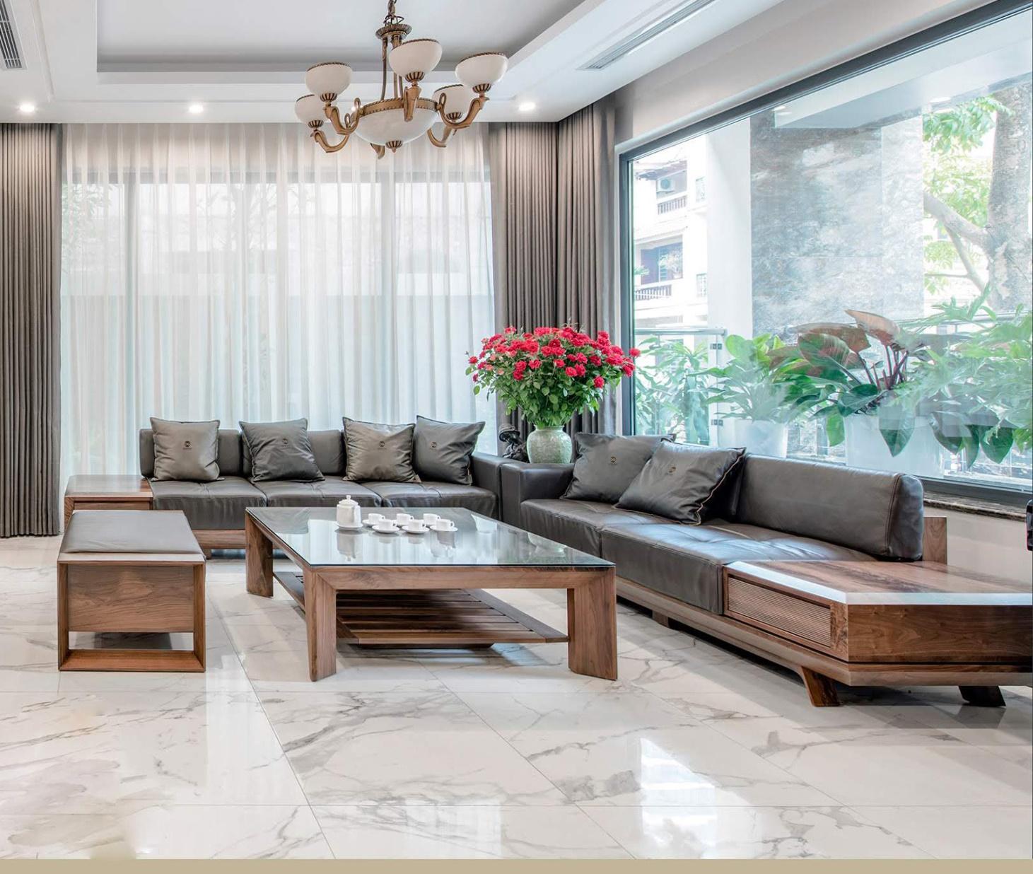 Bộ bàn ghế gỗ phòng khách với chất liệu gỗ tự nhiên