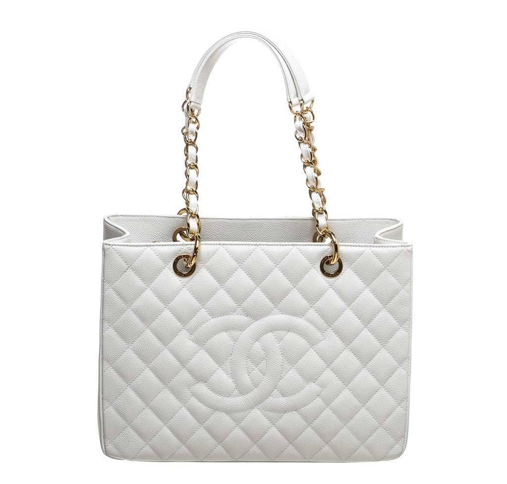 Chanel White Caviar Grand Shopper Tote Bag | Baghunter