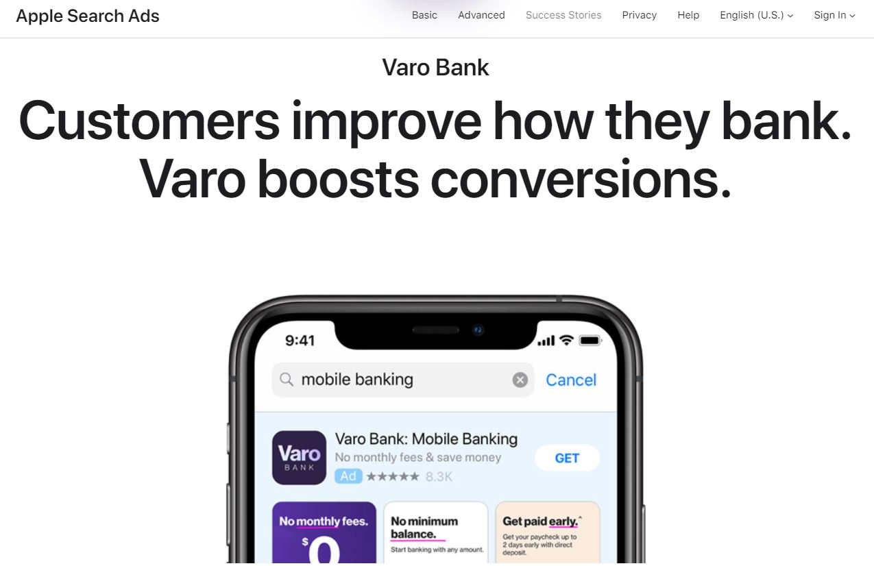 Apple Search Ads by Varo Bank and a smartphone showing iOs download page.