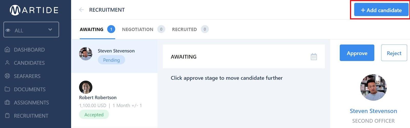 screenshot of a recruitment pipeline.