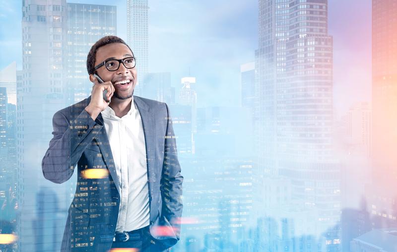 man talking on phone in office