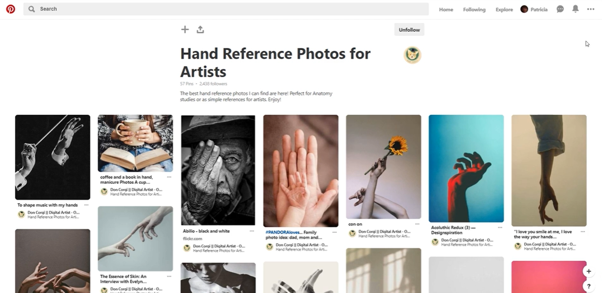 hand refrences in pinterest
