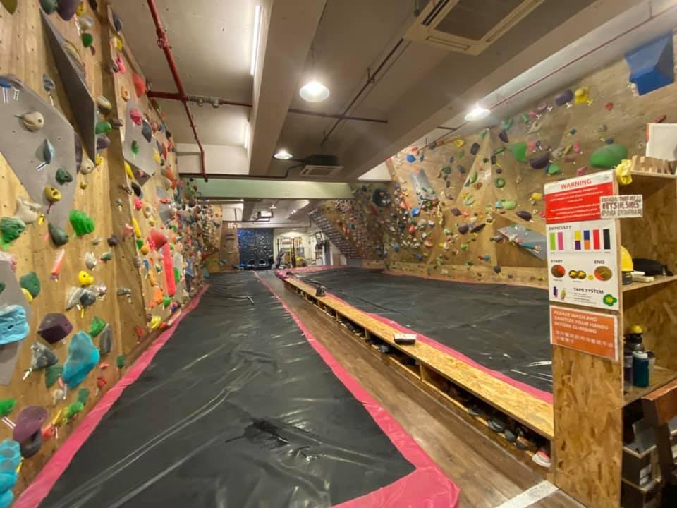 Inside Attic V bouldering gym in Hong Kong