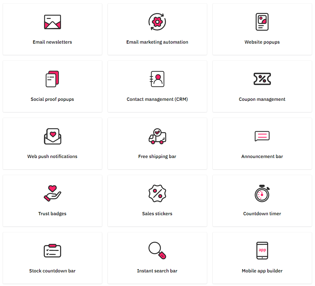 Icons listing 15 features of Automizely Marketing app for Shopify