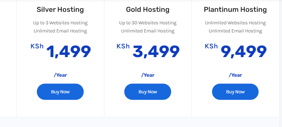truehost packages when hosting a website in Kenya
