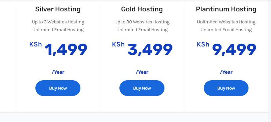truehost packages when hosting a website in Kenya