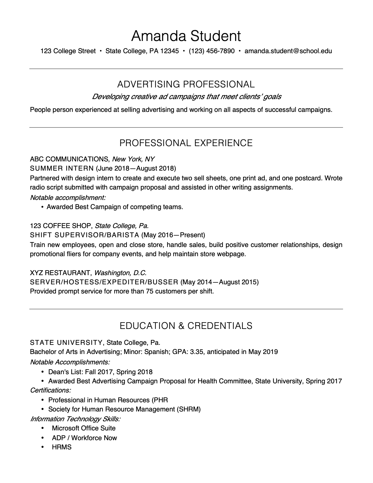 Sample Resume for First Job Out of College from thebalancecareers.com