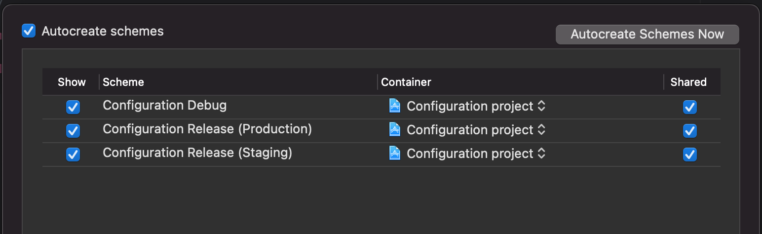 configuration stored in the Info plis