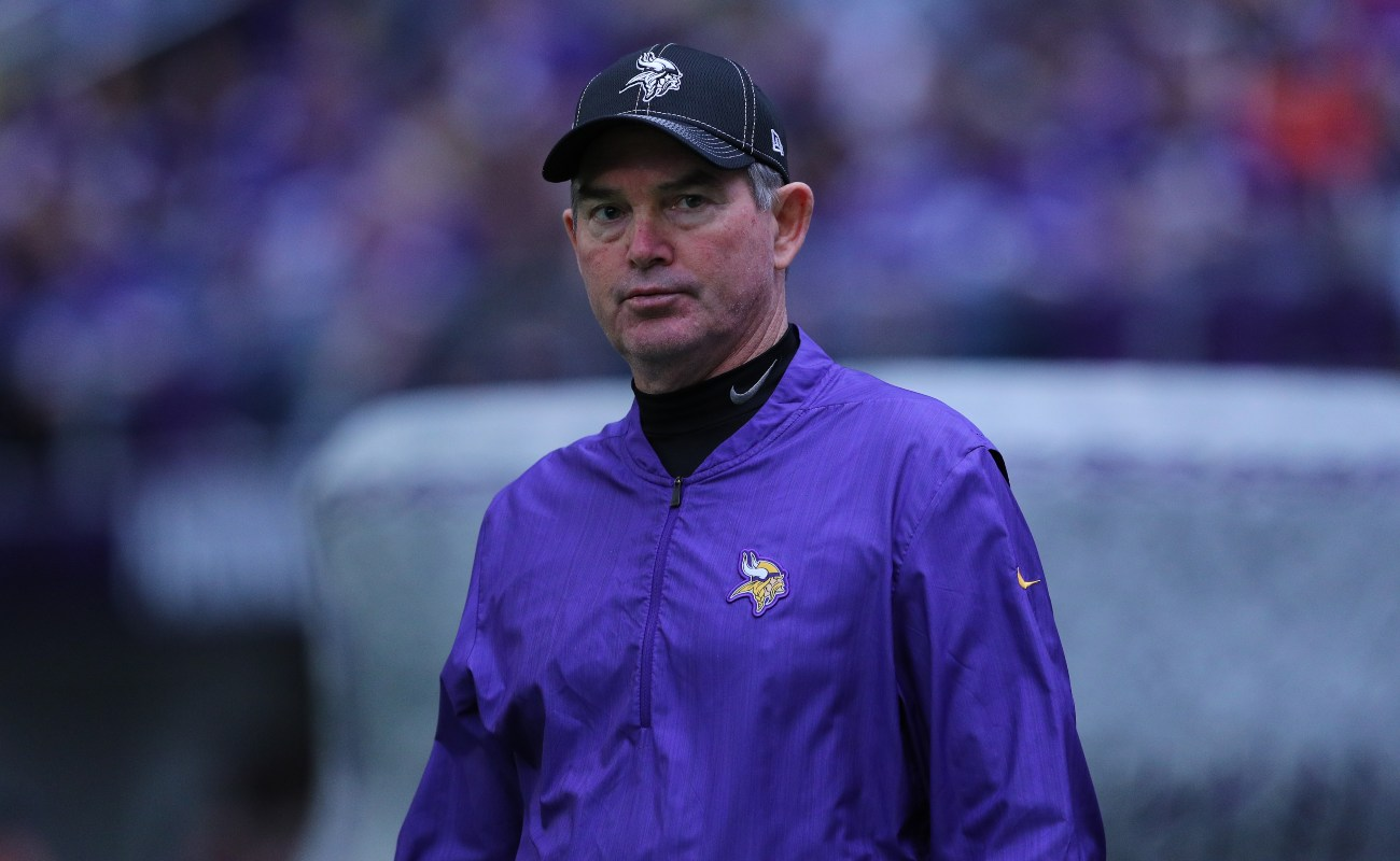 Head coach Mike Zimmer of the Minnesota Vikings walks on the field before the game against the Chicago Bears at U.S. Bank Stadium on December 29, 2019 in Minneapolis, Minnesota. (Photo by Adam Bettcher/Getty Images)