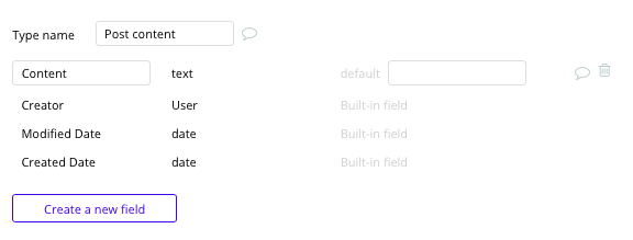 Bubble No Code Medium Clone Post Content Data Type and Fields
