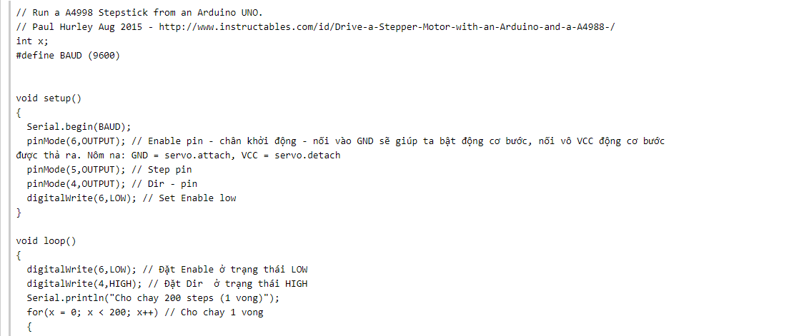 code cho arduino của động cơ bước