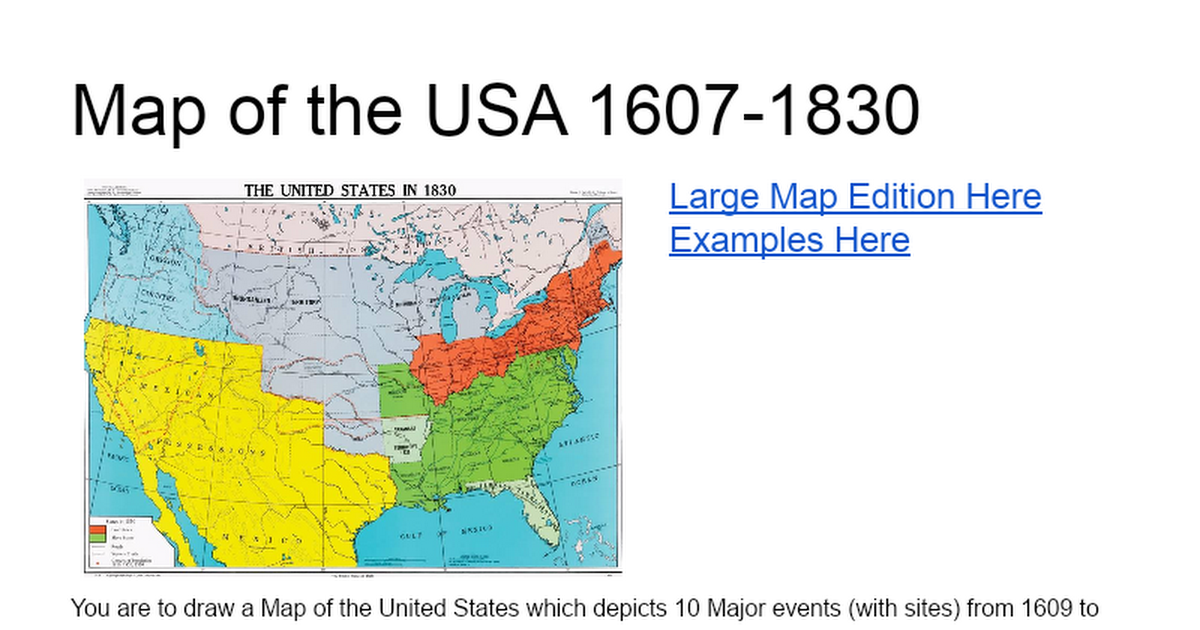 Map Of The USA Google Docs - Map of the us in 1830