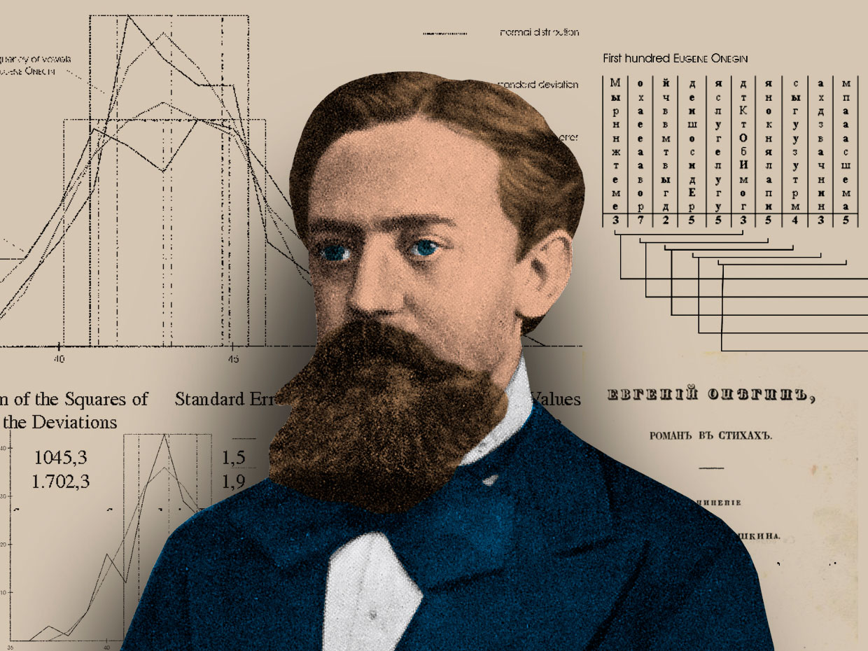 Russian mathematician Andrey Andreyevich Markov in front of his statistical analyses of Alexander Pushkin's novel, Eugene Onegin.