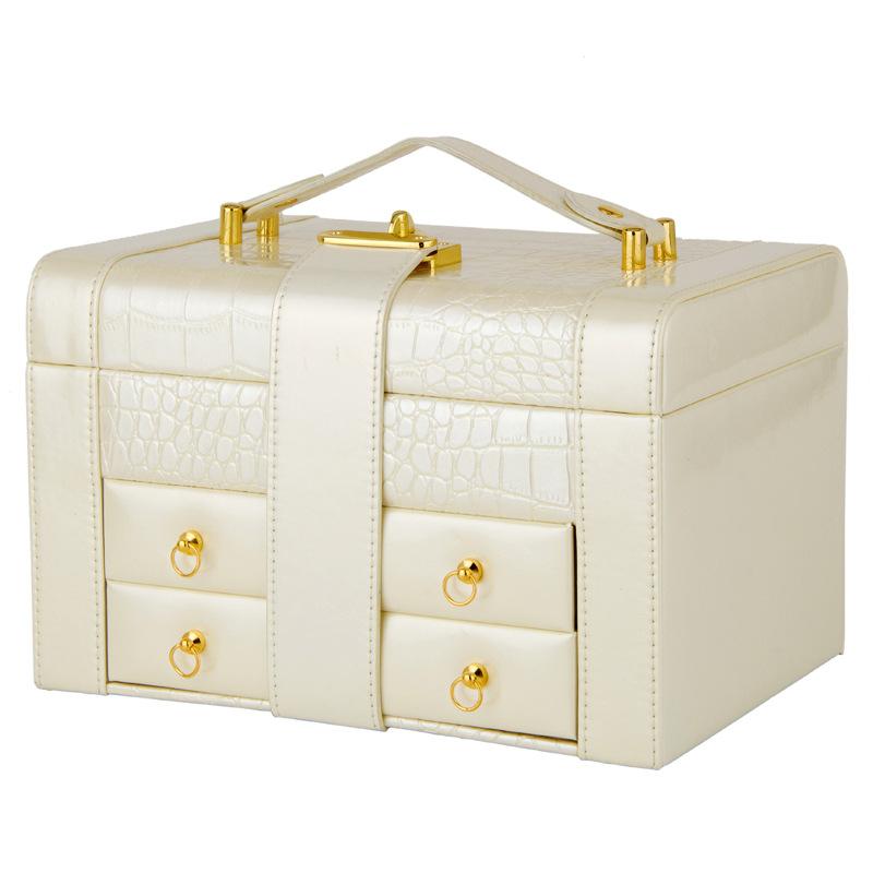 hộp đựng trang sức bằng da cao cấp loại 1 màu trắng
