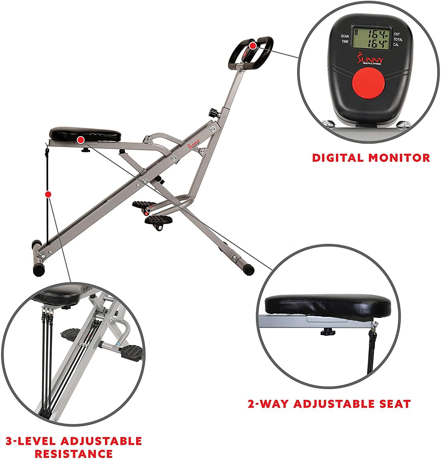 best rowing machine in Canada | Sunny Health & Fitness Squat Assist Row-N-Ride Trainer For Squat Exercise And Glute Workout For Lower Body Strength - No. 077
