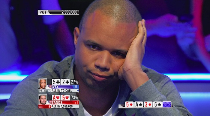 Phil Ivey losing a hand in poker
