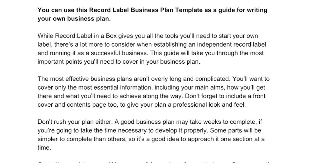 Record label business plan template google docs cheaphphosting Image collections