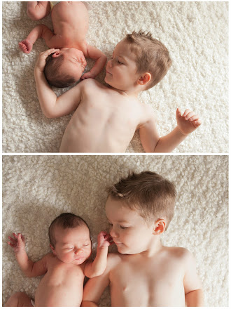 Newborn baby with toddler brother