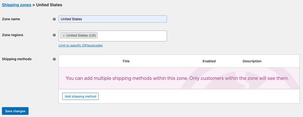 Adding shipping zone
