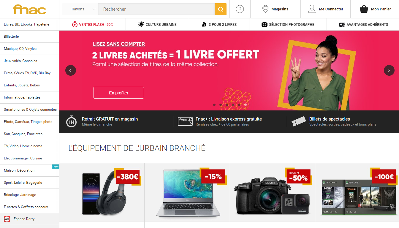 Homepage FNAC, a French marketplace