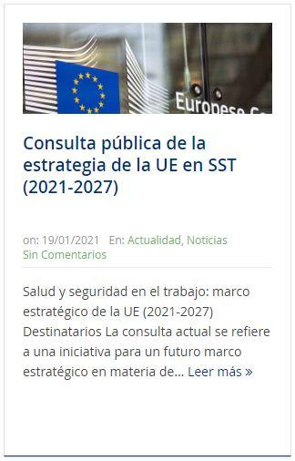 Consulta pública UE sobre actualidad PRL enero 2021