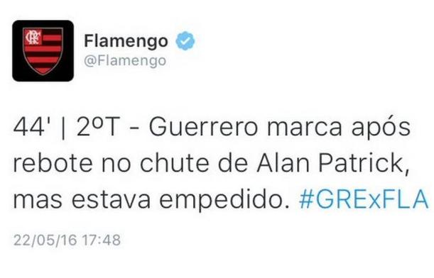Twitter oficial do Flamengo erra ao escrever