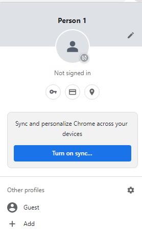 New Google Chrome User Profile