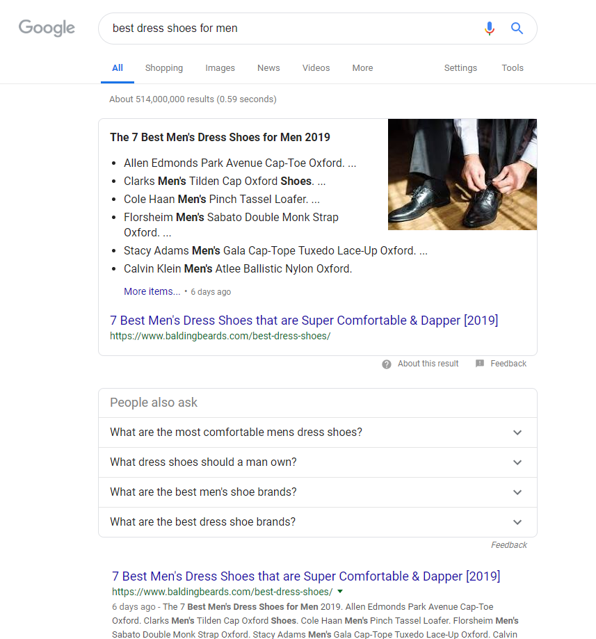 "Google search results for ""Best Dress Shoes For Men."""