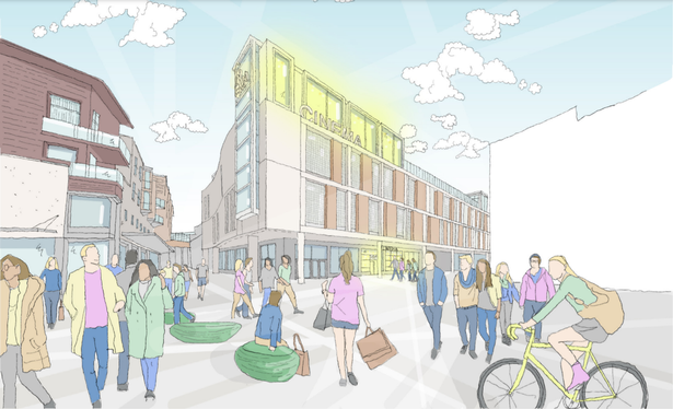 Artist impression of the proposed new cinema for the Exeter Debenhams site
